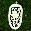 "Hand Carved Butterfly 3"" Natural Buffalo Bone 925 Silver Pendant BP1586"