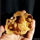 Hand Carved Smiling Budha 70mm Natural Wrus Fossilized Statue Carving
