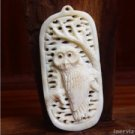 "Hand Carved Owl Figurine 2.9"" Buffalo Bone Pendant Bead Necklace BP1152"