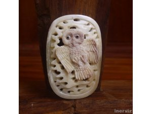 "Hand Carved Owl 2.6"" Natural Buffalo Bone Pendant Bead Necklace Jewelry BP1121"
