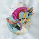 Original Art Collage Print Carousel Horse Blue