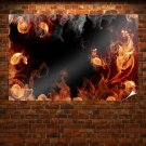 Fire Abstract Art Poster 36x24 inch