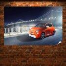 Orange Fiat 500 2013 Model Poster 36x24 inch