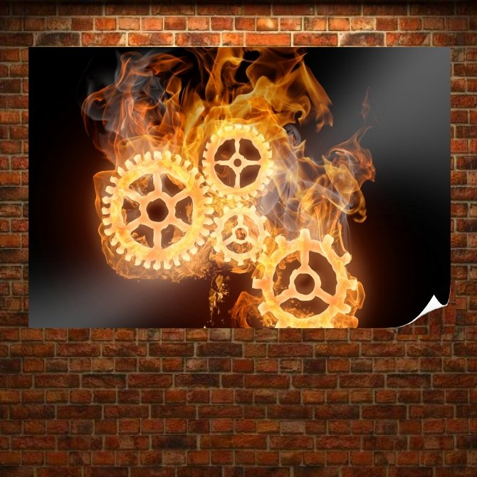 Wheels On Fire Poster 36x24 inch