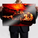Vintage Car In Fire Poster 36x24 inch