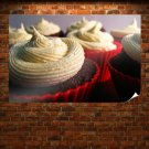 Brownie Cake With Cream Poster 36x24 inch