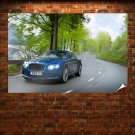 Blue Bentley Continental Gt Poster 36x24 inch
