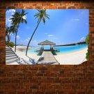 Sunny Palm Beach Corner Poster 36x24 inch