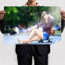 Asian Girl On A Skateboard  Poster 36x24 inch