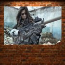 Brunette With A Big Gun  Poster 36x24 inch
