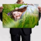 Happy Girl In The Grass  Poster 36x24 inch