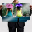 Girls With Sun Hats  Poster 36x24 inch
