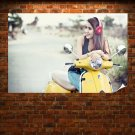 Woman On A Vespa  Poster 36x24 inch