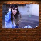 Brunette With Glasses  Poster 36x24 inch