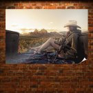 Cowgirl With A Machine Gun  Poster 36x24 inch