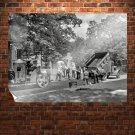 Pavement Construction Cemetery Retro Vintege Poster 32x24 inch