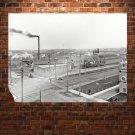 Buildings Railroad Rails Retro Vintege Poster 32x24 inch