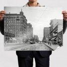 Buildings Street Trolley Retro Vintege Poster 32x24 inch