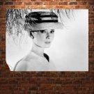 Audrey Hepburn Face Hat Retro Vintege Poster 32x24 inch