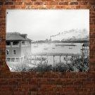 Boats Buildings Retro Vintege Poster 32x24 inch