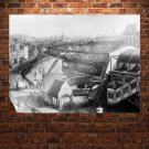 Tram Rail Buildings Retro Vintege Poster 32x24 inch
