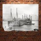 Michigan Central Railway Tunnel River Retro Vintege Poster 32x24 inch