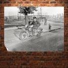 Police Cop Motorcycle Retro Vintege Poster 32x24 inch