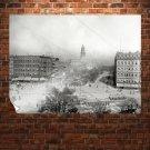 Detroit Buildings Trolley Retro Vintege Poster 32x24 inch