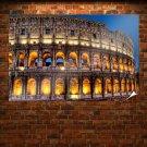 Colosseum Roman Hdr Retro Vintege Poster 36x24 inch