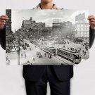 Trolley Buildings Street Shorpy Detroit Retro Vintege Poster 36x24 inch