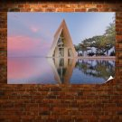 Building Reflection Triangle Water  Poster 36x24 inch
