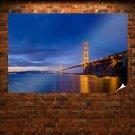 Golden Gate Bridge Bridge San Francisco Ocean Night  Poster 36x24 inch