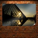 The Louvre Louvre Pyramid Sunlight  Poster 36x24 inch
