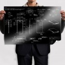 Iphone Cell Phone Phone Iphone 5 Blueprint Black  Poster 36x24 inch