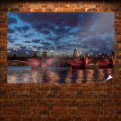 Bridge Clouds River London  Poster 36x24 inch