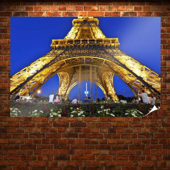 Eiffel Tower Tower Paris Lights  Poster 36x24 inch