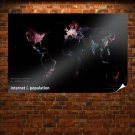 Internet Population Atlas Black  Poster 36x24 inch