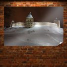 Castle Wall Snow Winter  Poster 36x24 inch