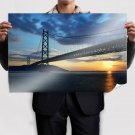 Bridge Sunset Ocean  Poster 36x24 inch
