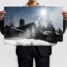 House Snow Winter Sunlight Trees  Poster 36x24 inch