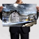 House Winter Snow Hdr  Poster 36x24 inch
