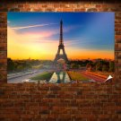 Paris Eiffel Tower Sunset  Poster 36x24 inch