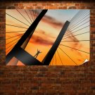 Bridge Sunset Shadow Silhouette Person  Poster 36x24 inch