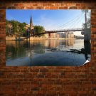 Buildings Bridge River  Poster 36x24 inch