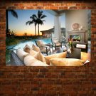Pool Backyard  Poster 36x24 inch