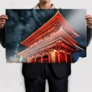 Asian Building Night  Poster 36x24 inch