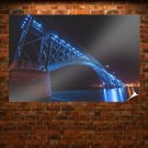 Bridge Night Lights Peace Bridge  Poster 36x24 inch
