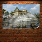 Water Water Fountain Fountain Building Rainbow  Poster 36x24 inch
