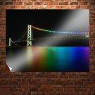 Colorful Bridge Night Akashi Kaikyo Bridge Night  Poster 32x24 inch