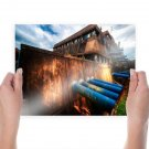Pipes Metal Building  Poster 24x18 inch